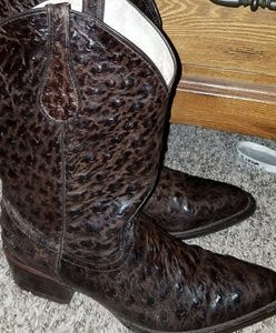 Handcrafted Genuine Chocolate Ostrich Skin Boots